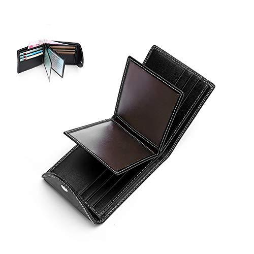 1pc Leder-Geldbörse für Männer Bifold Wallet Thin Ledergeldbörse mit dem Herrenbrieftasche Folding Foto Kreditkartenetui-Black -
