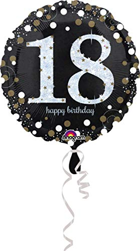 amscan 3323901 Folienballon 18 Sparkling Birthday, Schwarz, Silber, - Hit Girl Fancy Dress Kostüm