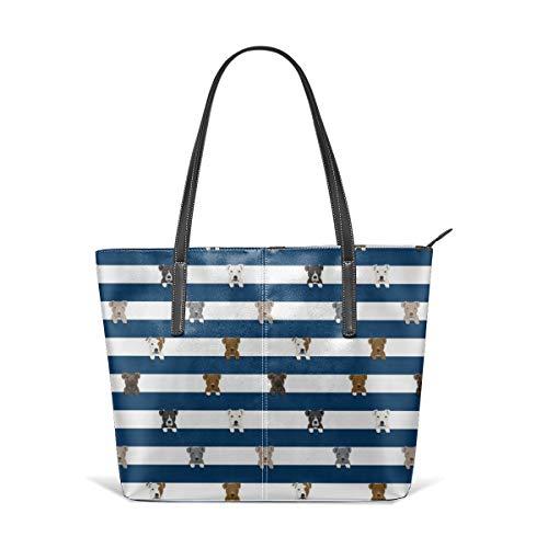 Frauen weiches Leder Tote Umhängetasche Pitbull Stripes Hunderasse Navy Fashion Handtaschen Satchel Geldbörse - Stripe Zip Satchel