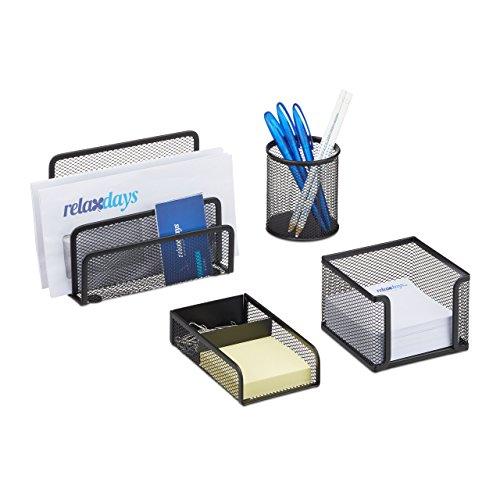 Relaxdays Schreibtisch Organizer Set 4-teilig, Mesh Metall Zubehör mit Briefablage, Stiftehalter und Zettelbox, schwarz -