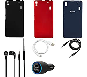 NIROSHA Cover Case Car Charger Headphone USB Cable for Lenovo K3 Note - Combo
