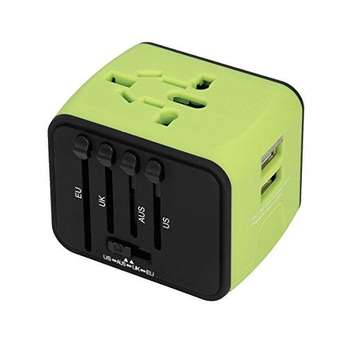 WEINAS Adattatore Universale da Viaggio con 2 Porte USB di Ricarica, Tutto in Uno Adattatore (Universale Ac Parete)