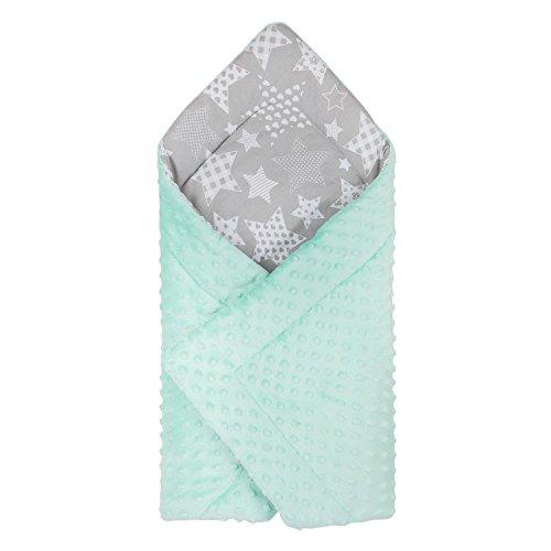 Dkaren Baby Einschlagdecke/Babyhörnchen Babydecke zum Einwickeln 100% Baumwolle und Minky 80x80cm (0-6 Monate) (Minky Aquamarin-Große Sterne) (Erde-mädchen T-shirt)