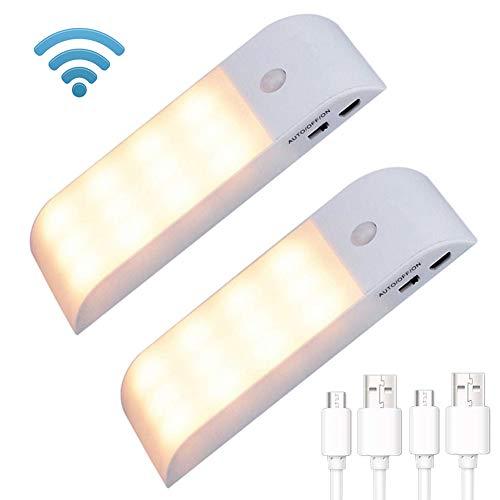 Sensor de movimiento inalámbrico, luz nocturna LED USB recargable magnética tira de...
