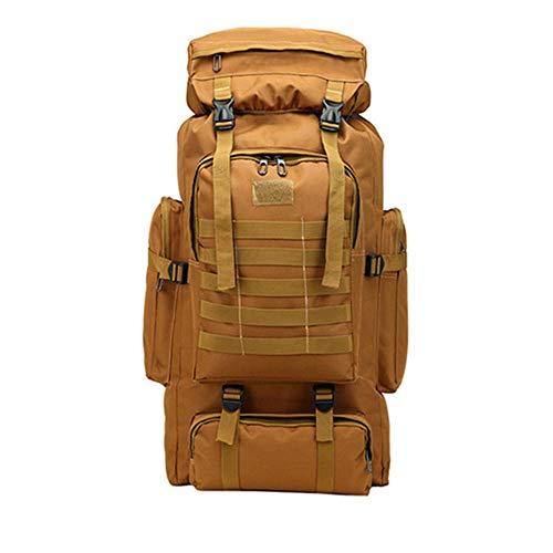 ETH 600D Oxford Tuch Männer Reisetasche 80L Outdoor-Sportarten Wandern Wandern Rucksack Große Kapazität Multi-Tasche Gepäcktasche Computer Tasche dauerhaft (Farbe : Brown)