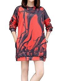 bc53bcc01001 Feicuan Vestido de Sudadera para Mujer - Vestidos de Manga Larga Jersey Camiseta  Estampada de Dibujos