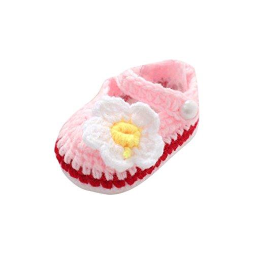 Zapatos Bebé niña Primeros Pasos Zapatos Rosas de Verano para bebés Cuna Crochet Calcetín de Punto Hecho a Mano de niñas Zapatos Princesa (0-1 años, B)