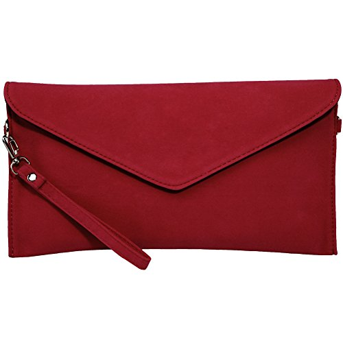 KorMei Damen PU Wildleder Handtaschen Envelope Clutch Party Tasche, Rot, Small -