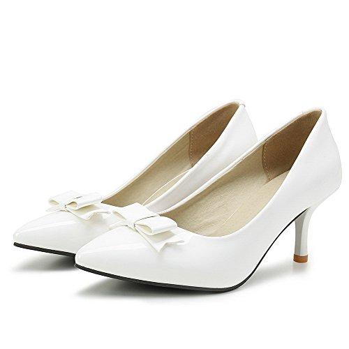 AgooLar Femme Pointu à Talon Correct Verni Couleur Unie Tire Chaussures Légeres Blanc