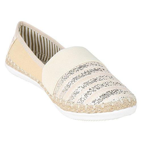 Damen Slippers Metallic Bast Espadrilles Profilsohle Flats Sommerschuhe Denim Print Schuhe Blumen Glitzer Stoffschuhe Jennika Creme Creme