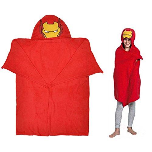 Marvel Iron Man Kinder Bademantel mit Kapuze Schnuffeltuch