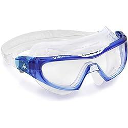 Aquasphere Vistor Pro Masque de Natation Adulte Unisexe, Verre Clair-Bleu/Blanc, Taille Unique