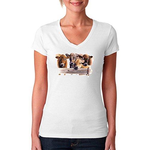 Fun Girlie V-Neck Shirt - Jersey Kühe by Im-Shirt Weiß
