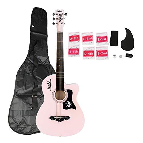 38c Farbe (Coaste DK-38C Gitarrengurte/Gitarrensaiten aus Lindenholz, mit LCD-Tuner und Pickguard-Saiten, Pink)