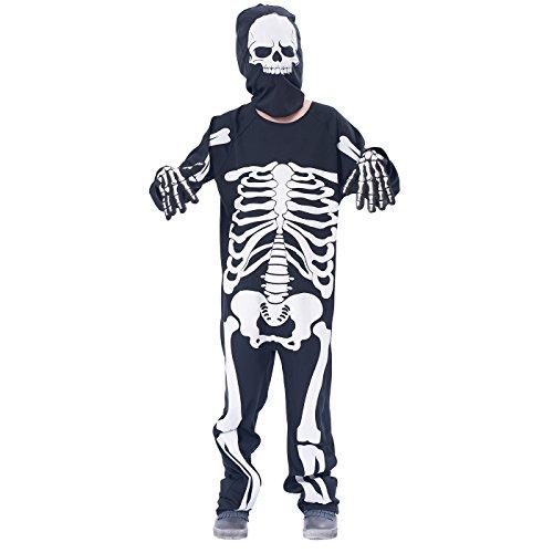 IKALI Kinder Skelett Kostüm, Jungen Halloween Overall Unheimlich Bekleidung Langarm für Karneval Party