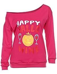 Yesmile Mujer Camisetas❤️Las Mujeres Camisa Las Mujeres de Halloween O  Cuello de impresión de Manga Larga Fuera de la Camisa del… 95f09b7a61c5