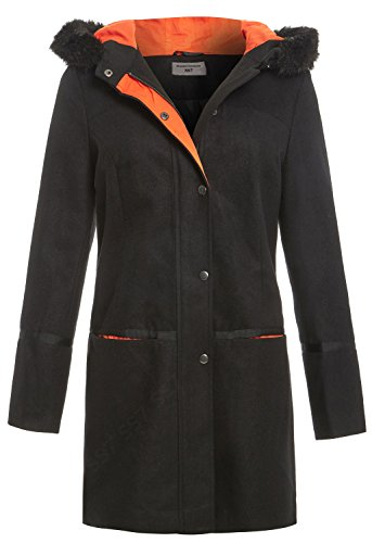 SS7 Damen Kapuze aus Kunstpelz luxuriös Wollmischung Mantel, schwarz, 36 EU (8 UK) - Kapuzen Wollmischung Mantel