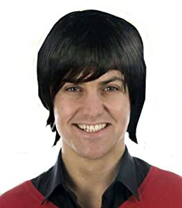 Mens 80s 90s Short Black Pop Star Boy Band WIG Fancy Dress Costume Wig BLACK