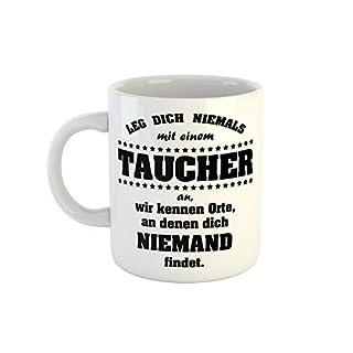 clothinx Kaffeetasse mit Aufdruck Leg Dich Niemals Mit Einem Taucher An