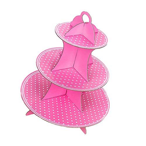 SM SunniMix 3 Tiere Pappe Ständer Display Ausstellung mit Punkten Gedruckt für Kuchen Cupcake Desserts Kekse Macarons Obst usw. - Rosa