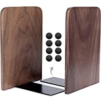 """Anwenk Bookends Wooden Book Ends Natural Walnut Wood Decorative Art Bookends for Shelves Hand Crafted with Felt Pads for Home Office Library School Children Decoration Gift, 1 Pair, 6.7""""x4.8""""x4.2"""""""