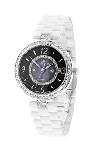 Stella Maris Reloj pulsera analógico de Cuarzo para Mujer - Correa cerámica Premium - Esfera de Nácar - Diamantes y elementos Swarovski - STM15SM7