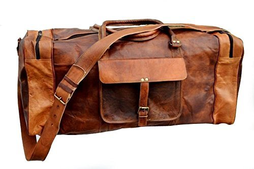 Bolsa de viaje de estilo vintage, 61 cm, de piel, tamaño grande