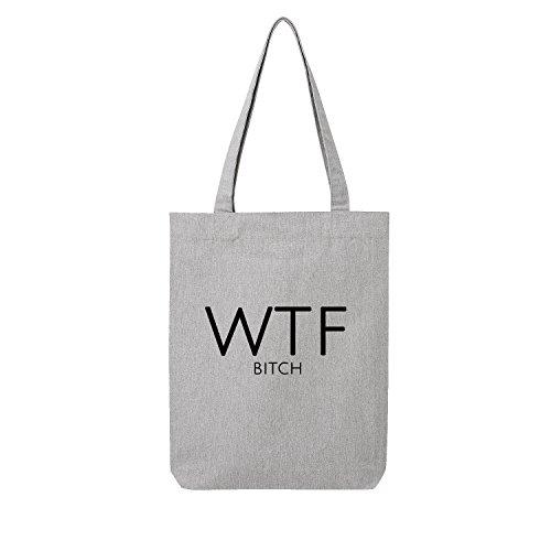 wha´t the f... Bag Frauen Shopper grau Jute Beutel Handtasche Strand Sommer faltbar klein bedruckt Motiv Print (399-U760-Grau)