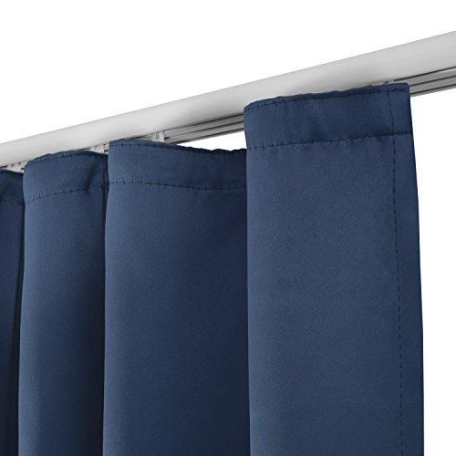 Beautissu Blackout-Vorhang Amelie mit Kräuselband – 140×245 cm Blau – Verdunklungsgardine Universalband Blickdicht - 2