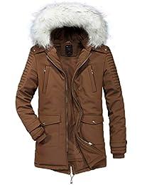 YYZYY Herren Winterjacke Pelz Winter Mit Kapuze Warm Jacke Parka  Daunenjacke Wintermäntel 9502dd634a