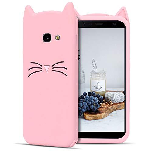 CaseLover ES Funda para Samsung J4 Plus 2018, 3D Linda Gato Carcasa Suave TPU Silicona Protectora Caso Flexible Goma Gel Dibujos Animados Parachoques Tapa para Samsung Galaxy J4 Plus 2018 - Rosa