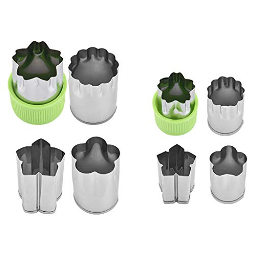 Vektenxi Premium Qualität 8 Stücke Obst Sternform Fondant Kuchen Cookie Plunger Craft Tone Blumenform Gemüse Edelstahl Cutter Werkzeuge (Kuchen 8 Cutter Stück)