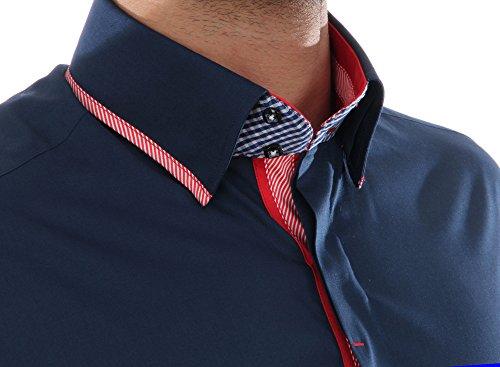 Slim Fit Luxus Designer Hemd in Dunkelblau, für Herren BESTE QUALITÄT, HK Mandel Langarm Freizeithemd, 5476421 Dunkelblau