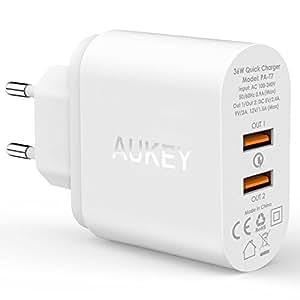 AUKEY Quick Charge 2.0 Caricabatteria per Muro con Due USB Porte con Qualcomm Quick Charge 2.0 & AiPower la Tecnologia di Ricarica Adattabile, Potenza Totale di 36W, 2 Pezzi di Micro USB Cavi di 1M in Dotazione, Compatibile con iPhone, HTC, LG, SONY ecc (Bianco)