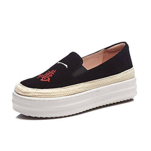 Chaussures à Plateformes Femme WSXY-A1104 Broderie Créative Creepers Baskets Série Simple,KJJDE black a