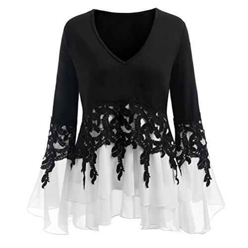 K-Youth Blusas y Camisas Mujer Talla Grande Dobladillo Irregular Gasa Cuello en V Camisetas para Mujer Mangas largas Casual Blusas para Mujer Elegantes Manga de cuern Tops T-Shirt (Negro)