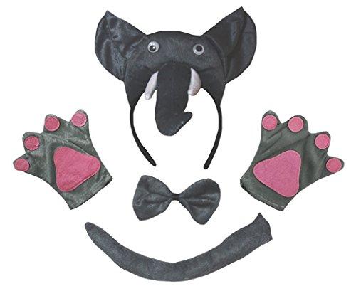 Petitebelle 3D Elefant Stirnband Bowtie Schwanz Handschuhe Kinder 4pc Kostüm Einheitsgröße Grau