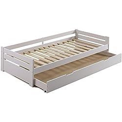 Cama nido Elena 90X190 madera maciza en Blanco