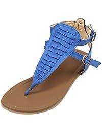 ASHOP Sandalias Mujer Bohemia Las Bailarinas Planas Zapatos de Cordones Verano Talón Plano bajo Moda Zapatillas