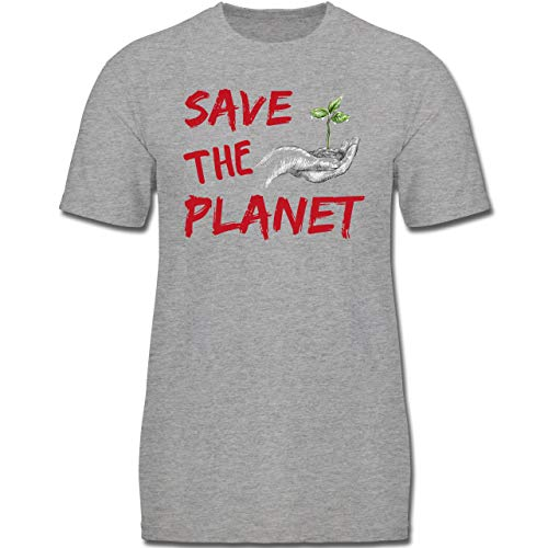Up to Date Kind - Save The Planet - 152 (12-13 Jahre) - Grau meliert - F130K - Jungen Kinder T-Shirt