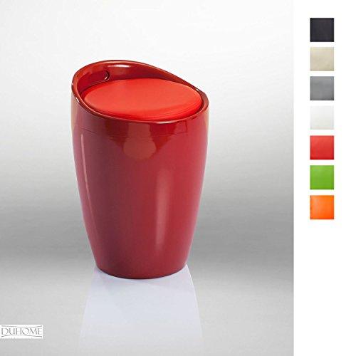 Hocker Stuhl mit Stauraum Badhocker Sitzhocker in ROT Typ 9-6220 - Duhome - mit Stauraum Abnehmbare Sitzkissen Wäschehocker