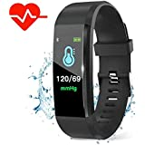Leegoal Fitness Tracker HR Monitor Heart Rate Monitor Watch Waterproof Activity Tracker Fitness Tracker With Sleep Monitor Step Counter Calories Black