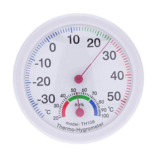 Fornateu Thermometer Hygrometer Mini runde Uhr förmige Mess Innen Außen Wand befestigte Temperatur-Feuchtigkeits-Messinstrument-Lehre -