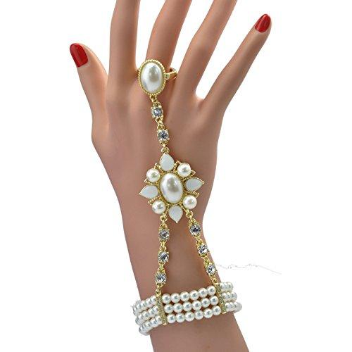 HYHAN HYHAN ispirato simulato perla cristallo braccialetto anello regolabile Set , e10296-kc gold