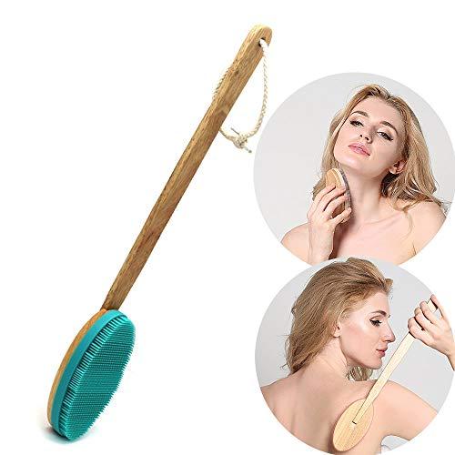 Dusche Körper Bürste Silikon Badebürste Kraftvolle Reinigung Schrubber Natürlichem Eichengriff Trockene Haut, Entfernen Abgestorbener Haut, Cellulite-behandlung Fauay,Green - Besten Cellulite-peeling