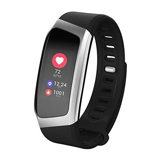 MSQL Fitness Tracker Farbbildschirm Smart Armband Herzfrequenz- und Schlafmonitor Wasserdichte Trainingsuhr für Android & iOS,blacksilver