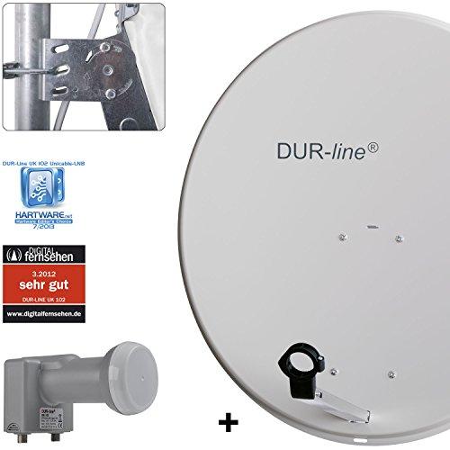 DUR-line MDA 80 Hellgrau - Digiatale 5 Teilnehmer Satellitenschüssel Komplett-Anlage mit UK 102 - Unicable LNB [Camping, Astra 19,2°, DVB-S/S2, Full HD, 4K, 3D]