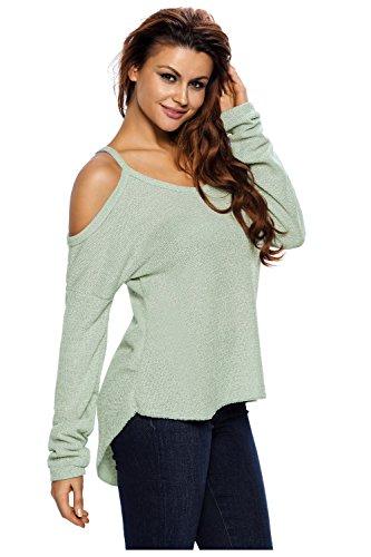 Beaii Damen Pullover Schulterfrei Oberteil Langarm Lose Knitted Sweater Top Bluse Hellgrün