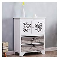 Cherry Tree Furniture White Paulownia Wood Sideboard Drawer Chest with Carved Cabinet Doors & Wicker Baskets