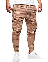 Zilosconcy Moda Pantalones Hombre Trabajo Elasticos Pantalones Hombre Chandal Deporte Pitillo Vaquero Elastico Cinturones de Amarre